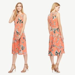 Ann Taylor Coral Oasis dress floral sleeveless 0